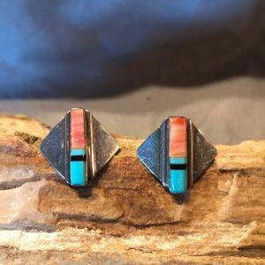 Native American Sterling & Gemstone Earrings